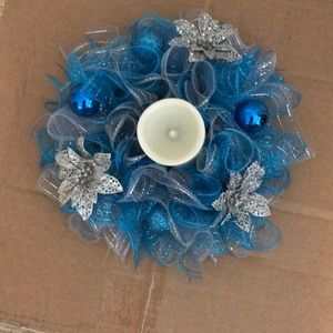 Blue An Silver Deco Mesh Candle Holder